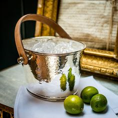 NEW! Leather Handled Ice Bucket - Champagne Hammering | Culinary Concepts