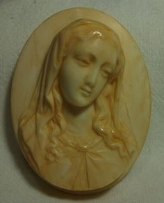 Magnificent Victorian Ivory Cameo Brooch of the Virgin Mary ca 1870