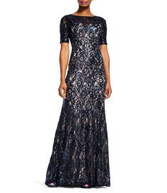 12f2d589881 Adrianna Papell Round Neck Short Sleeve Sequin Lace Mermaid Gown