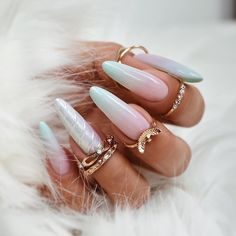 77 Nail Art Designs For Spring and Summer 2019 nageldesign pastell Colorful Nail Designs, Nail Designs Spring, Cute Nail Designs, Almond Acrylic Nails, Almond Nails, Mint Nails, Gel Nails, Bohemian Nails, Tie Dye Nails