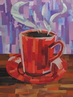 """Title: Red Coffee Cup<br> Medium: Magazine strips<br> Size: 16""""x12""""<br> Copyright © by Megan Coyle<br><br>"""