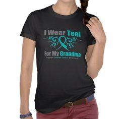 Ovarian Cancer Teal Tribal Ribbon Grandma Tshirt by GiftsForAwareness.com