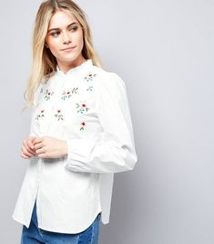 7c050171772 New Look White Floral Embroidered Long Sleeve Shirt Size UK 14 LF088 BB 15  #fashion