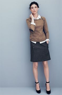 Crew neck sweater over button down and pencil skirt