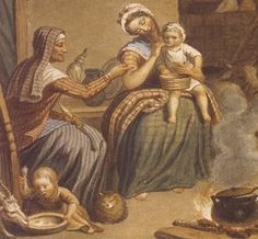 """Detail from """"Scottish Highland Family"""" by David Allan. The old woman wears a striped shortgown, a white neckerchief, striped kertch over a white coif, striped petticoat, and checked apron. Her granddaughter wears a checked petticoat (or two), striped shortgown with short sleeves, blue neckerchief with red and white border, and a fashionable cap with ruffle and pink bow. She is barefoot."""
