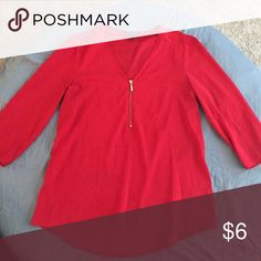 Red Blouse with gold zipper Almost new Express Tops Blouses