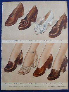 """""""Sensible shoes"""": Womens Flats Casual Shoes Loafers Clothing Vintage 1940s Sears Original Ads 