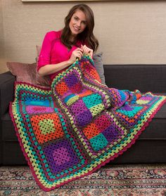 Granny Re-mix Throw ~ Completely Modern Take on the Beloved Granny Square: FREE crochet pattern