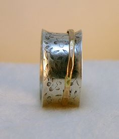 Flower and Leaf Patterned Oxidized Sterling Silver by JRathDesigns, $50.00