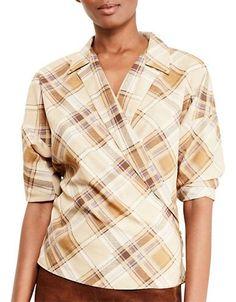 Lauren Ralph Lauren Plaid Crepe Wrap Shirt Women's Multi X-Large