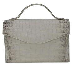 Authentic M Crocodile Skin Womens Belly Shoulder Bag W/Strap Envelope White Handbag