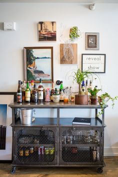 There comes a time in every adult's life when a bar cart just won't do anymore. In which case, it might be time to upgrade to a bar cabinet. Decor, Decor Inspiration Board, Contemporary House Design, House Design, Interior, Industrial Loft, Bars For Home, Bar Cart Decor, Home Decor
