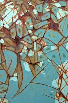 #Mosaic in #turquoise and #rust by Janet Little Jeffers.