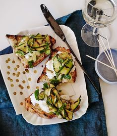 Bruschetta with mozzarella, zucchini, mint and lemon :: Gourmet Traveller Magazine Mobile Grilling Recipes, Cooking Recipes, Cooking Bacon, Vegetarian Recipes, Zucchini Carbonara, Rye Bread Recipes, Veggie Sandwich, Lemon Recipes, Appetizer Recipes