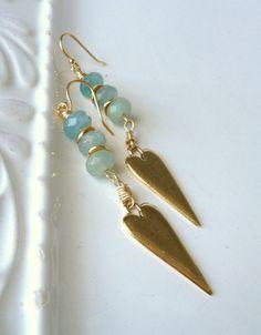 Long Dangle Boho Earrings Gemstone Heart Beaded by LoveandLulu