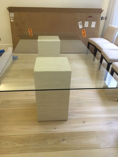 Glass Top Stone Base Dining Table