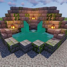 Stairs surrounding a set back water block give a nice textured look Minecraft fountain design Château Minecraft, Villa Minecraft, Casa Medieval Minecraft, Construction Minecraft, Minecraft Welten, Minecraft Mansion, Minecraft Structures, Minecraft Houses Survival, Easy Minecraft Houses