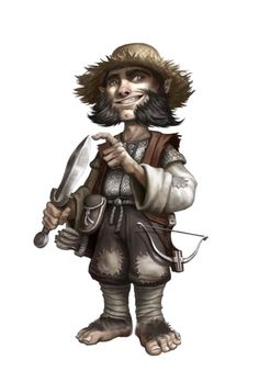 Male Halfling Rogue - Pathfinder PFRPG DND D&D d20 fantasy