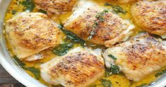 Facebook Pinterest PrintIngredients: (Yield 8 servings) 8 bone-in, skin-on chicken thighs 1 tablespoon smoked paprika Kosher salt and freshly ground black pepper, to taste 3 tablespoons unsalted butter, divided 3 cloves garlic, minced 1 cup chicken broth 1