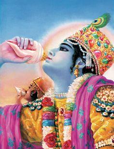 Bhagavad Gita Art Gallery--Plate Krishna and Arjuna sounded their transcendental conchshells. Krishna Love, Krishna Art, Bollywood Stars, Meditation France, Bhagavata Purana, Hindu Rituals, Shree Krishna, Radhe Krishna, India Art