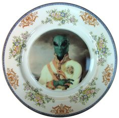 Sir Marvin of Roswell  - Altered Antique Plate 10""
