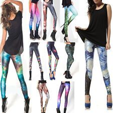 Women Peacock tail&Tetris &Muscle&Galaxy Print Tights Pant Leggings 15 Styles