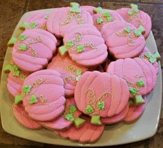 Pink pumpkin baby shower cookies by Dot Cash