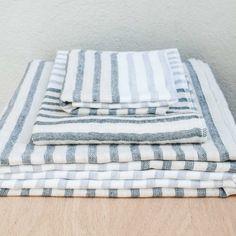 Yoshii Linen Blend Grey Border Towel $13