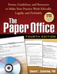 The Paper Office, Fourth Edition: Forms, Guidelines, and Resources to Make Your Practice Work Ethically, Legally, and Profitably (The Clinician's Toolbox) by Edward L. Zuckerman PhD, http://www.amazon.com/dp/1593858353/ref=cm_sw_r_pi_dp_HAJrqb069XD66