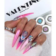 Pink stiletto nails with Swarovski crystals nail design by MargaritasNailz