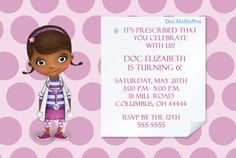 Doc McStuffins Birthday Party Invitation 4x6 by printablesboutique