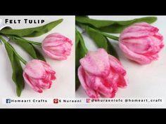 #DIY Tulip Foxtrot - Felt Tulip - How to Make Felt Flowers - S Nuraeni - YouTube Felt Flower Tutorial, Felt Flowers, Felt Crafts, Hello Everyone, Home Art, Flower Art, The Creator, Felting, Youtube