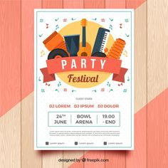 Party festival poster with instruments Free Vector