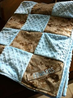 Custom Military Baby Quilt by MyMilitaryCouture on Etsy, $50.00 would looove to have this!