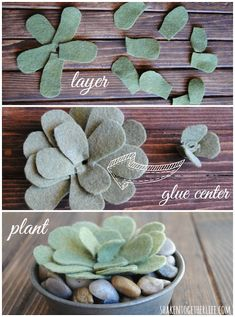 suculentas Three easy tutorials to make felt succulents - these are SO cute! Felt Flowers, Diy Flowers, Fabric Flowers, Paper Flowers, Easy Felt Crafts, Felt Diy, No Sew Crafts, Paper Succulents, Fleurs Diy