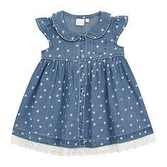 Baby girls' navy chambray floral print dress