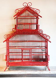 French Antique Colonial style Bamboo Cage.  I'd paint it a cool color. not a warm girl. Own a bird