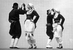 Figure danced as part of the sousta (Vikelaia Municipal Library, Heraklion). Folk Costume, Costumes, Greek Dancing, Crete Island, Heraklion, Folk Dance, Old Maps, Back In The Day, Traditional Outfits