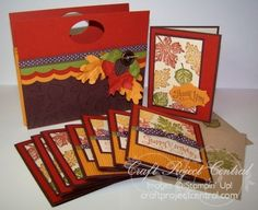 Goin' Over The Edge: Autumn card set with card pocket pouch holder. Good idea for a gift for a shut in