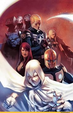 "Black Widow, Captain America, Moon Knight, Nova, War Machine (James Rupert ""Rhodey"" Rhodes) and Beast"