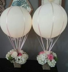 New baby shower flowers centerpieces hot air balloon ideas Wedding Balloon Decorations, Wedding Balloons, Wedding Centerpieces, Wedding Table, Modern Centerpieces, Wedding Ideas, Table Decorations, Christening Centerpieces, Diy Wedding