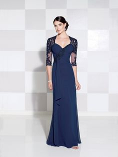 Cameron Blake Style 115612 Chiffon and lace slim A-line gown with illusion and lace three-quarter length sleeves, Queen Anne neckline, lace appliqué asymmetrica Glamorous Evening Dresses, Evening Dresses Uk, Evening Dresses With Sleeves, Mob Dresses, Lace Dress With Sleeves, Bridesmaid Dresses, Formal Dresses, Bride Dresses, Dress Lace