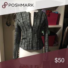 Express women blazer Blank and gray with silver thread Express Jackets & Coats Blazers