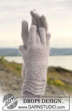 Ainaoikeinneulotut DROPS sormikkaat aaltokuvioilla Kid-Silk -langasta. Ilmaiset ohjeet DROPS Designilta.