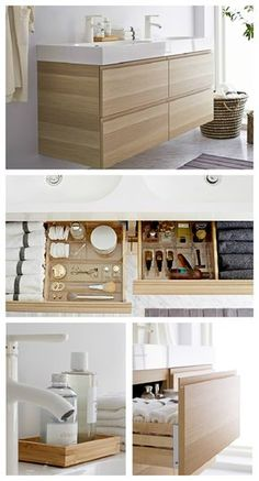 A smart bathroom retreat makes it me-time any time! Organization is easy with GODMORGON sink cabinet with smart organizing tools. Caddies, dividers and small containers keep everything in place when opening and closing drawers. Making it super easy to find what you're looking for.
