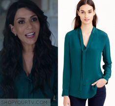 "Riverdale: Season 1 Episode 11 Hermione's Green Lace Up Blouse | Shop Your TV Hermione Lodge (Marisol Nichols) wears this green long sleeved tie neck blouse in this episode of Riverdale, ""To Riverdale and Back Again"".  It is the J.crew Collection Silk Secretary Blouse."