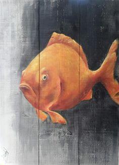 Schilderij van Vis op steigerhout painting on wood €125.- boxart.be