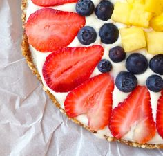 Just a few simple ingredients make this healthier fruit pizza with a lemony cream frosting.
