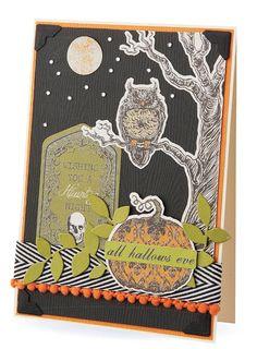 Ghostly graveyard Halloween card...