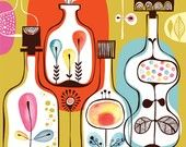 spirits in my bottle garden - limited edition giclee print of an original illustration